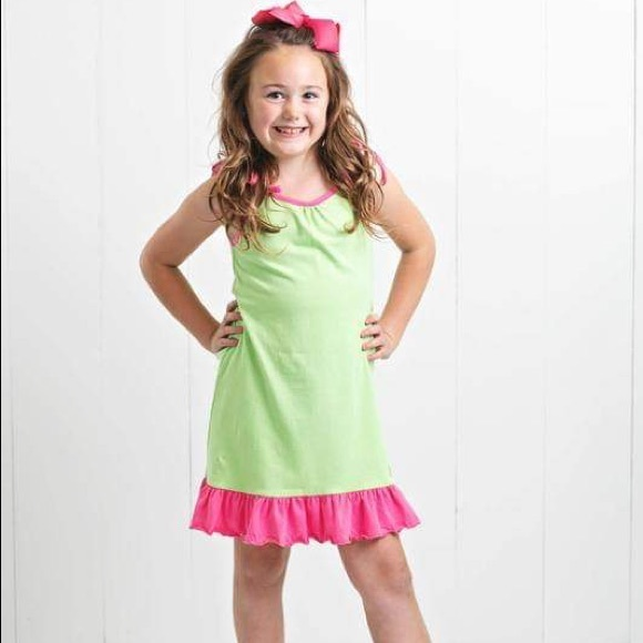 Ruffle Girl Other - Ruffle Girl Lime & Pink Tie String Dress